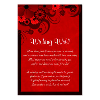 Red Hibiscus Floral Wedding Wishing Well Cards Large Business Cards (Pack Of 100)