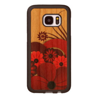 Red Hibiscus Floral Wooden Carved® Samsung S7 Case