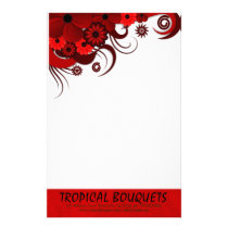 Red Hibiscus Florist Stationery Writing Paper
