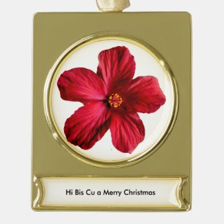 Red Hibiscus Flower Banner Gold Plated Ornament