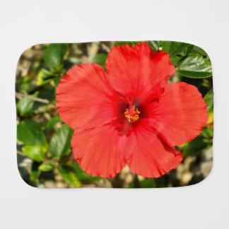 Red Hibiscus Flower Burp Cloth