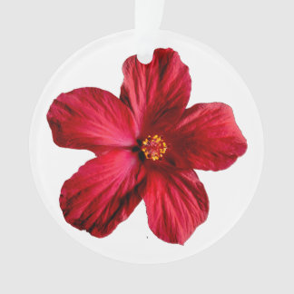 Red Hibiscus Flower Circle Acrylic Ornament