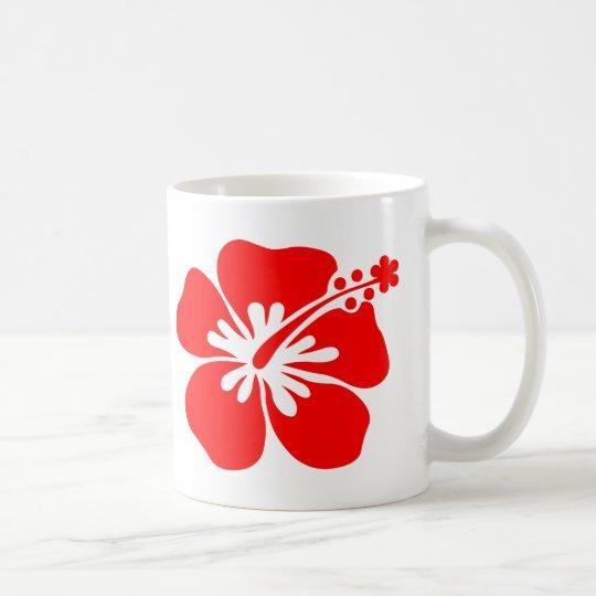 Red hibiscus flower coffee mug