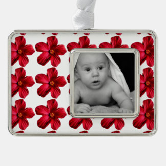 Red Hibiscus Flower Framed Silver Plated Ornament