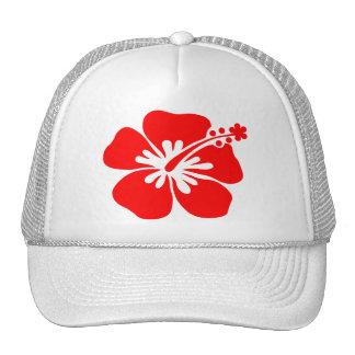 Red hibiscus flower trucker hat