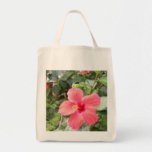 Red Hibiscus Flower in Tropical Honolulu, Hawaii Grocery Tote Bag