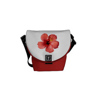 Red Hibiscus Flower Messenger Bag