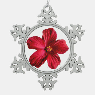 Red Hibiscus Flower Pewter Snowflake Ornament