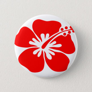 Red hibiscus flower pinback button
