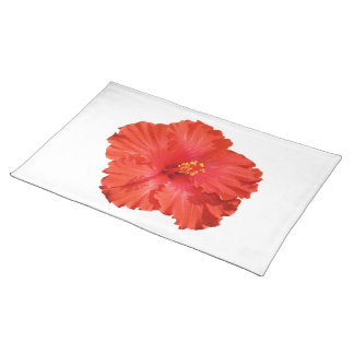 Red Hibiscus Flower Placemat Cloth Place Mat