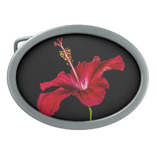 Red Hibiscus Flower Side View Oval Belt Buckle