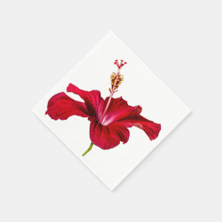 Red Hibiscus Flower Side View Paper Napkins