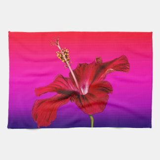 Red Hibiscus Flower Side View Towel