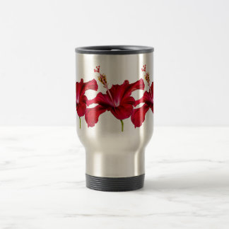 Red Hibiscus Flower Side View Travel Mug