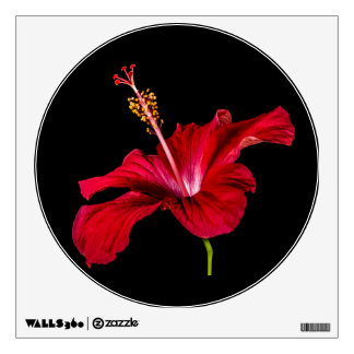 Red Hibiscus Flower Side View Wall Sticker