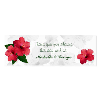Red Hibiscus Flower Skinny Favor Tags Mini Business Card