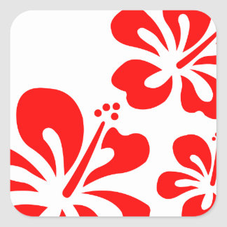 Red Hibiscus Flower Square Sticker