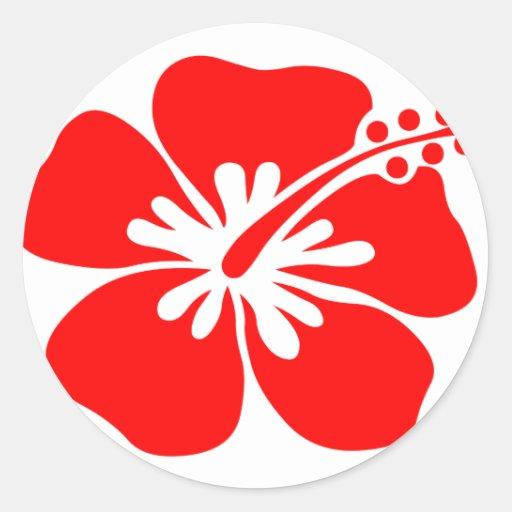 Red hibiscus flower round sticker