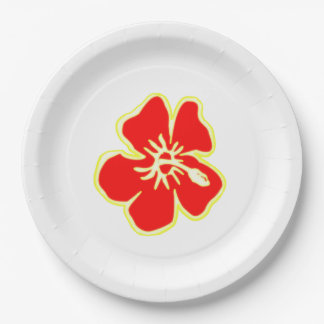 Red Hibiscus Flower Tropical Hawaiian Luau Party Paper Plate