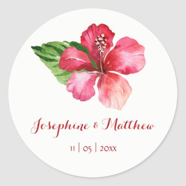 Beach Themed Red Hibiscus Flower Tropical Wedding Stickers