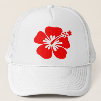 Red hibiscus flower trucker hat