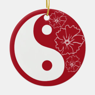 Red Hibiscus Flower Yang Round Ornament