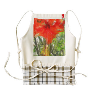 Red Hibiscus flower Zazzle HEART Apron