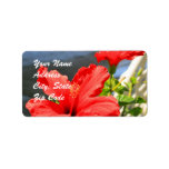 Red Hibiscus Flowers Address labels