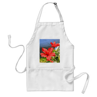 Red Hibiscus Flowers Apron