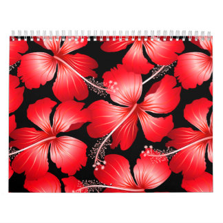 Red hibiscus flowers calendar