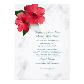 Red Hibiscus Flowers, Custom Wedding Invitation