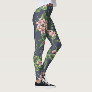 Red Hibiscus Flowers Dark Background leggings