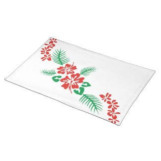 Red Hibiscus Flowers Place Mats