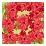 Red Hibiscus Flowers Poster Print