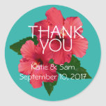 Red Hibiscus Flowers Round Thank You Sticker