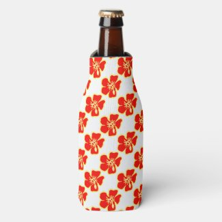 Red Hibiscus Flowers Tropical Hawaiian Luau Bottle Cooler