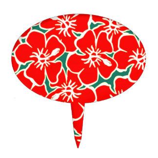 Red Hibiscus Flowers Tropical Hawaiian Luau Cake Topper