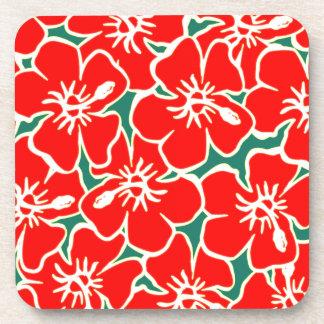 Red Hibiscus Flowers Tropical Hawaiian Luau Drink Coaster