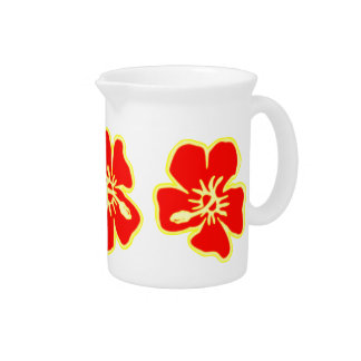 Red Hibiscus Flowers Tropical Hawaiian Luau Drink Pitcher