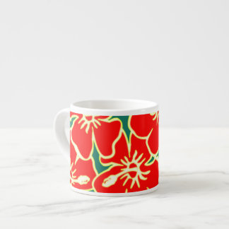 Red Hibiscus Flowers Tropical Hawaiian Luau Espresso Cup