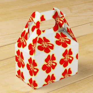 Red Hibiscus Flowers Tropical Hawaiian Luau Favor Box