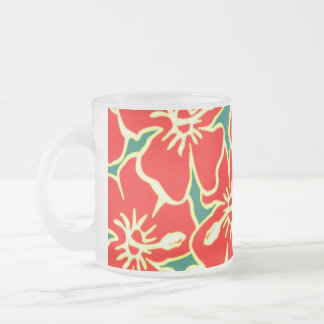 Red Hibiscus Flowers Tropical Hawaiian Luau Frosted Glass Coffee Mug