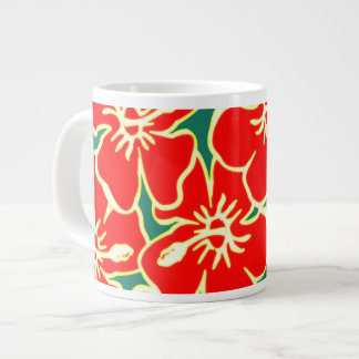 Red Hibiscus Flowers Tropical Hawaiian Luau Giant Coffee Mug