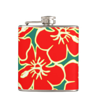 Red Hibiscus Flowers Tropical Hawaiian Luau Hip Flask
