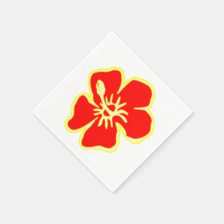 Red Hibiscus Flowers Tropical Hawaiian Luau Paper Napkin