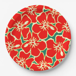 Red Hibiscus Flowers Tropical Hawaiian Luau Paper Plate