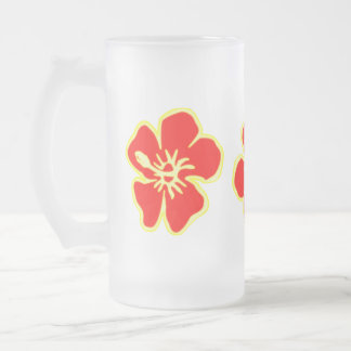 Red Hibiscus Flowers Tropical Hawaiian Luau Party Frosted Glass Beer Mug