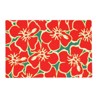 Red Hibiscus Flowers Tropical Hawaiian Luau Party Placemat
