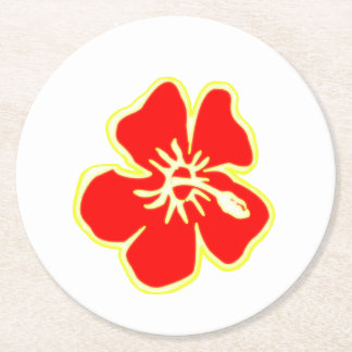 Red Hibiscus Flowers Tropical Hawaiian Luau Party Round Paper Coaster