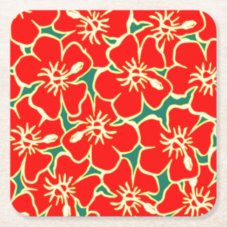 Red Hibiscus Flowers Tropical Hawaiian Luau Party Square Paper Coaster